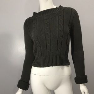 Tulle Knitted Crop Top Sweater